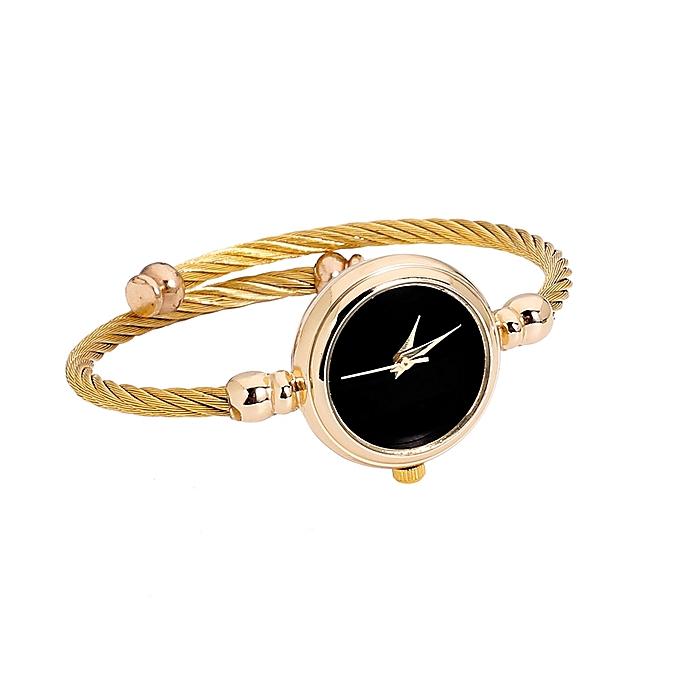 Fashion Womens Glass Mirror Bracelet Watch Circular Analog Quartz Watch-Gold 601a75cf5d