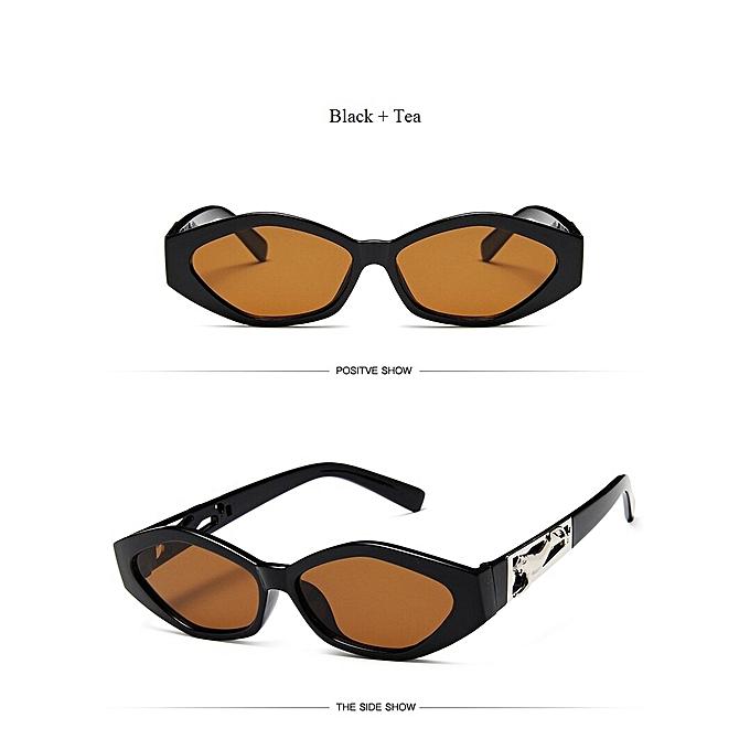 2019 New Sunglasses Fashion Brand Ladies Sun Glasses Small Frame Cat Eye  Cool White 3D Leopard Frame Black Yellow Blue Lens(Black Tea)