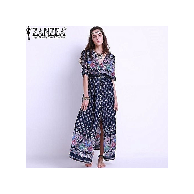 d879d7da6122f ZANZEA Women Floral Print Maxi Long Dress Boho Elegant Half Short Sleeve  Button Front V Neck Split Party Evening Shirt Dress Sundress (Purple)