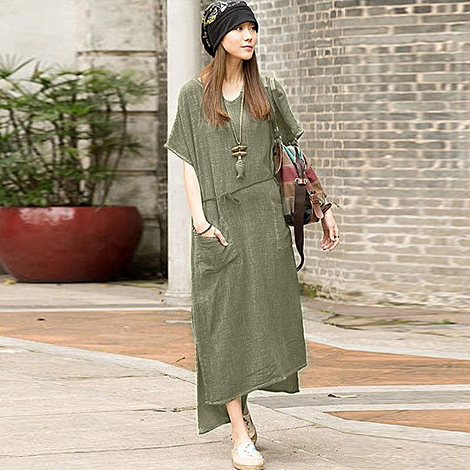 879654cfc412 Women Cotton Linen Batwing Sleeve Casual Loose Maxi Long Dress Kaftan