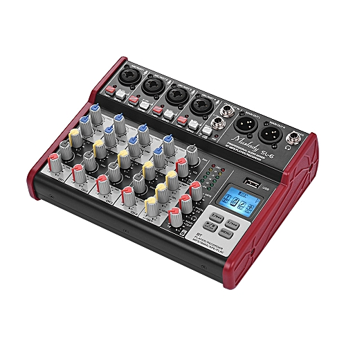 Muslady SL-6 Portable 6-Channel Mixing Console Mixer 2-band EQ Built-in 48V  Phantom Power Supports BT Connection USB MP3 Player for Recording DJ