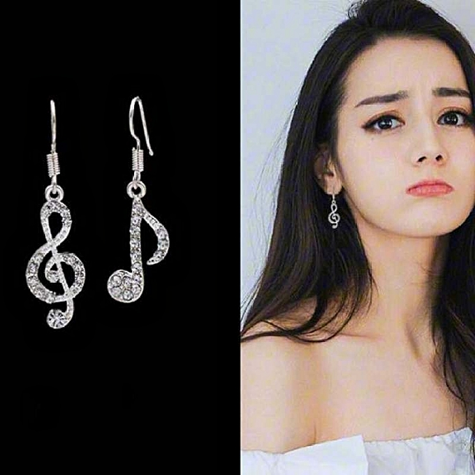 Great Korean Fashion Earrings Notes Temperament Female Asymmetric Ear Ornament Student Shine Personality Music