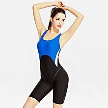 Women Swimwear Backless One Piece Swimming Suit Profession Sports Bodysuit Large Size Swimsuit Bathing Suit Beachwear - blue