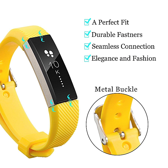 1 Pack Soft Accessory Replacement Band Sport Wristband Strap With Metal  Buckle for Fitbit Alta and Alta HR Fitness Tracker, Large Small  (Yellow