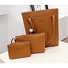 3Pcs Women Handbag -  Brown