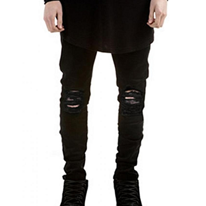 d54f2e318e2 FASHION Men Skinny Distressed Slim Jeans - Black - Black - 30   Best ...