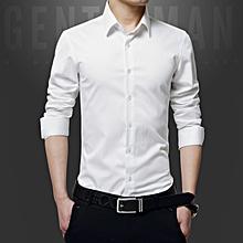 Luxury Cotton Slim Fit Office Formal Shirts Men Business Wedding Shirts (White)