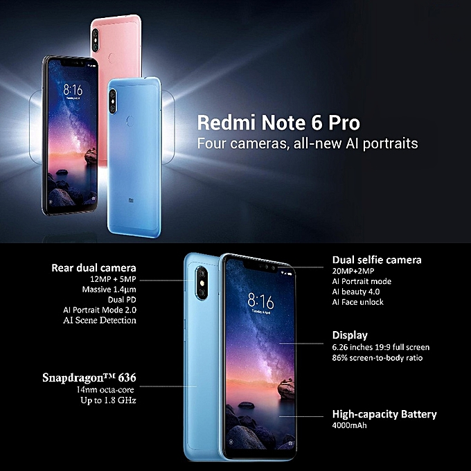 Redmi Note 6 Pro 3GB+32GB 6 2 inch Screen Android 8 1 Oreo Qualcomm  Snapdragon 660 Octa Core up to 2 2GHz 4G Smartphone(Black)