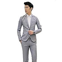 091abbeb7 Grey Korean Style Men Suit Coat Slim Suit Men's Jacket Solid Color