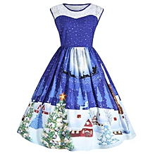 Christmas Plus Size Lace Insert Sleeveless Party Dress