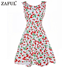 Women Hepburn Flaral Printing Design Retro Dress - White