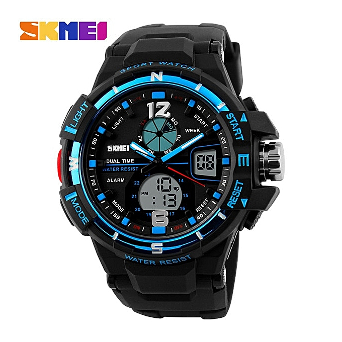 Mens Military Sports Watches Top Luxury LED Digital Quartz Watch For Men  relogio masculino(Blue)