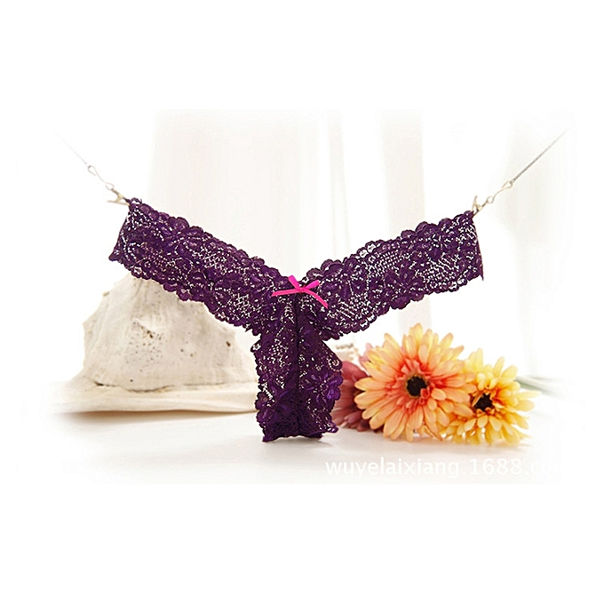 b09a2d702 Grace Sexy pure lace panties female bow low waist seamless ladies underwear  temptation thong transparent T