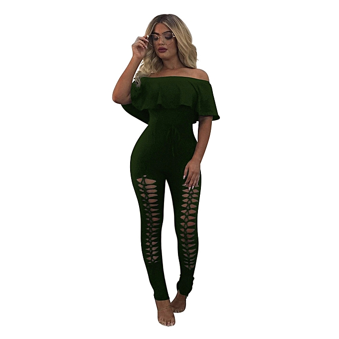 797e4fbac93 Xiuxingzi Women Off The Shoulder Ruffle Playsuit Bodycon Party Jumpsuit  Trousers
