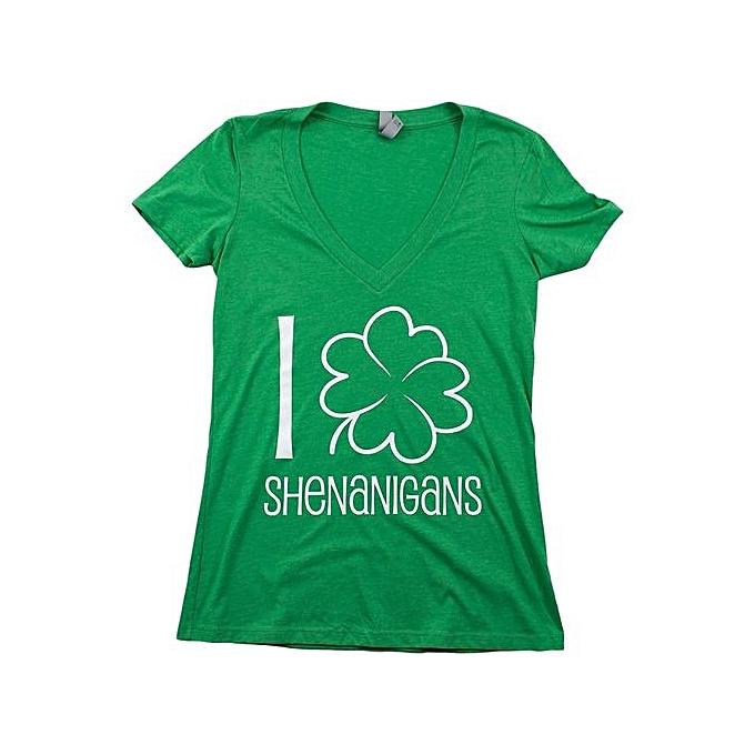 fdb25c0ea I Shamrock Shenanigans - Cute, Funny St. Patrick's Day Ladies' Green Deep V