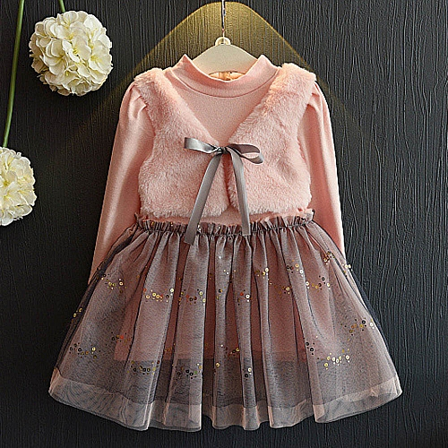 c2e4258729d1e Toddler Kids Baby Girl Winter Clothes Bowknot Pullovers Patchwork Princess  Dress