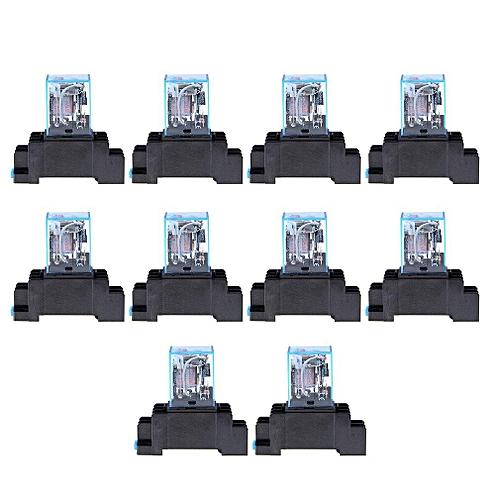 TE AC 220V 10PCS Coil Power Relay LY2NJ DPDT 8 Pin PTF08A JQX-13F Socket  Base