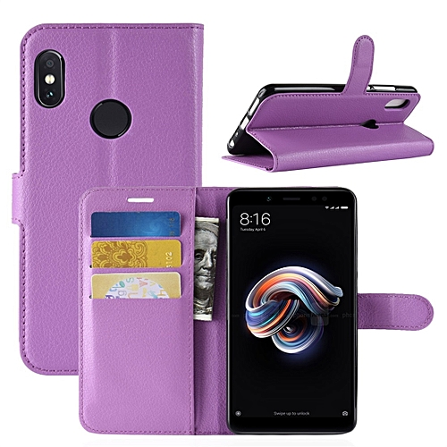 Generic For Xiaomi Redmi Note 5 Pro Litchi Texture Horizontal Flip Protective Leather Case With Holder & Card Slots & Wallet (Purple)