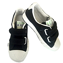 Black Kids Canvas Sneaker Shoes with a Rubber Sole - Black