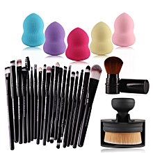 Makeup Brush Tools Toiletry Kit Wool Make Up+ 5Pcs Make-up Sponges Set-Black