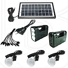 GD 8017 Solar Lighting System Kit with 3 LED Lights, Solar Panel, Power cable  and Multiple Phone Charger