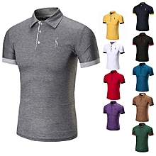 Hot Sale Men's Summer Cotton Breathable Top Short Sleeve Polo Shirts-Grey
