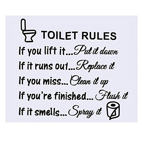 UNIVERSAL Removable Toilet Rules Wall Sticker Vinyl Art