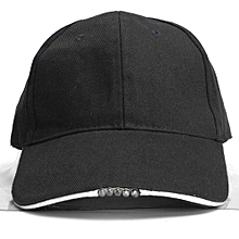 Battery Powered Hat Adjustable Outdoor Baseball Cap With 5 Bright LED Light New Navy Black