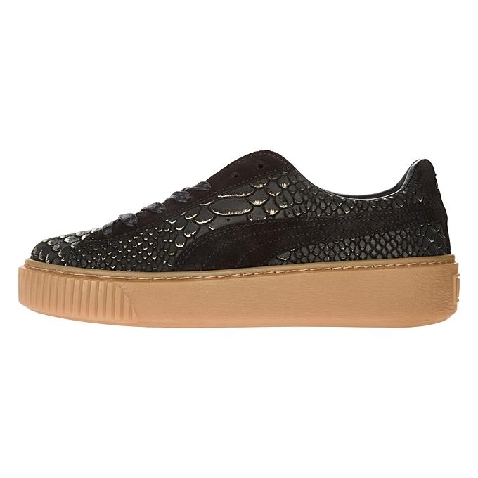 new product 7d2e6 69355 Basket Platform Exotic Skin Sneakers Black Women