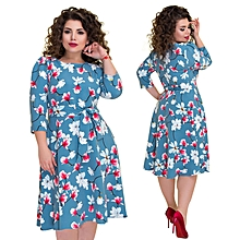 Dresses Large Sizes Boho Printed Floral Dress Elegant Autumn Plus Big Size A Line Office Dress Party Work