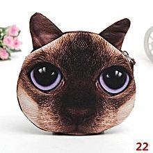 Women Cute Cat Dog Face Zipper Case Kids Coin Purse Wallet Girl Makeup Bag Pouch