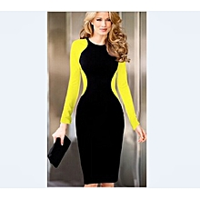 Midi Dresses For Business Women Wear To Work Casual Silm Dress Long Sleeve-yellow
