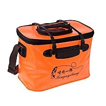 Live Fish Bucket Folding Water Bucket  Fish Bucket Bait Box Fishing Water Tank With Hand Strap,size:36*23*25cm(orange)