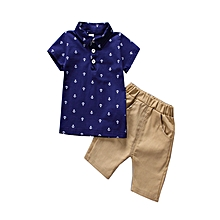 Summer Spring Polo ForT Shirt+shorts 1-5 Year Boys Clothing Set  Clothes 2pcs Blue White