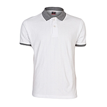 White Men's T-Shirt With Checked Collar