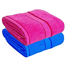 Bath Towel Set of 2 - 100% Premium Cotton - Pink&Blue .