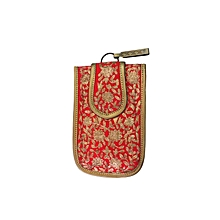 Raw Silk Mobile Cover with Golden Embroidery - Red