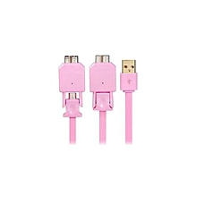 1M X 702 2 In 1 Micro 2.0/3.0 USB Charge Sync Wide Flat Data Cable (Pink)