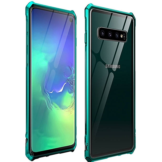 Snap-on Aluminum Frame and Tempered Glass Back Plate Case For Galaxy S10  (Green)