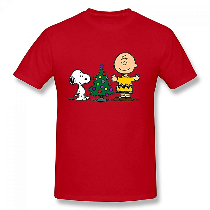 charlie brown snoopy christmas mens cotton short sleeve print t shirt red - Snoopy Christmas Shirt