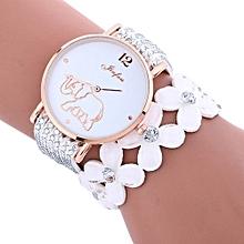 Lady  Leather Wrist Watch Fulaida Fashion Elephant Pattern Chimes Diamond Leather Bracelet Lady Womans Wrist Watch-White