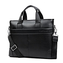 Men Briefcase Leather Bag Business Shoulder Crossbody Messenger Laptop Handbag Black