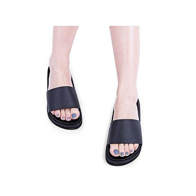 Open Toe Slip On Ladies Casual Flat Slippers BLACK