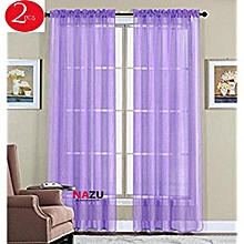 Curtains-Sheer See Through-Pack Of 2 Each Panel 1.5m Width by 2m Length-Purple