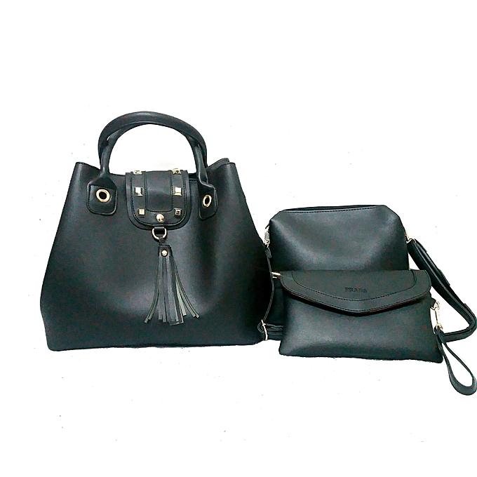 Black 3 In 1 Genuine Leather Handbags