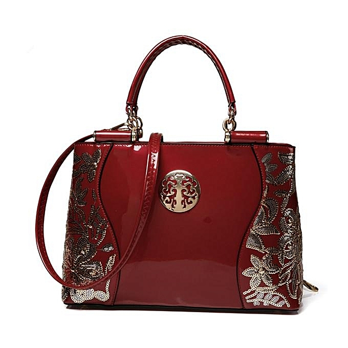 Women Patent Leather Luxury Europe Fashion Embroidery Sequined Chains Handbag Wine Red