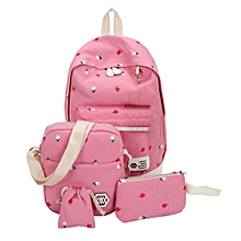 guoaivo Fashion Students Canvas Shoulder Bag Large  Backpack Pouch Four Sets Girls PK