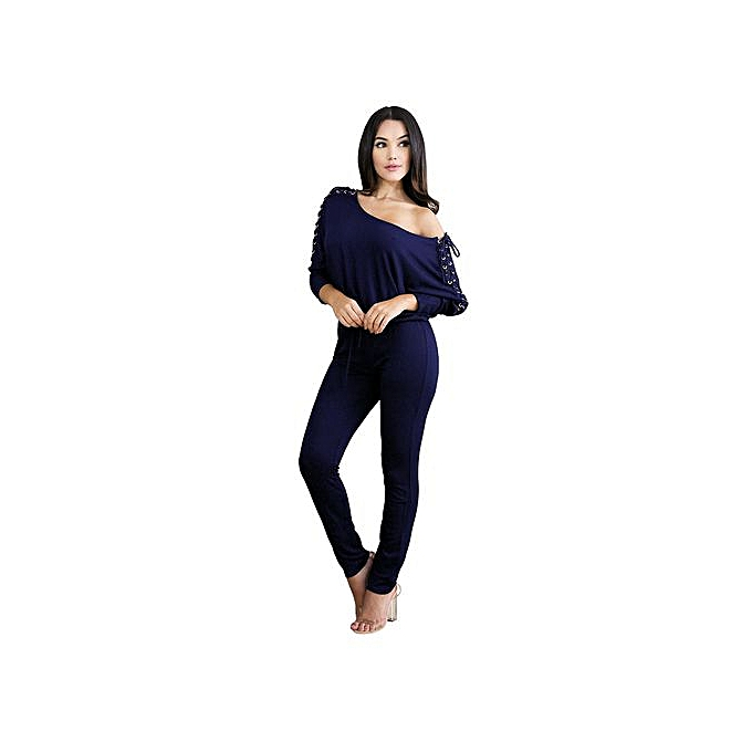144f457f751d Hiaojbk Store Womens Sexy Overalls Long Sleeve Casual Rompers Summer Off  Shoulder Jumpsuit-Royal Blue ...