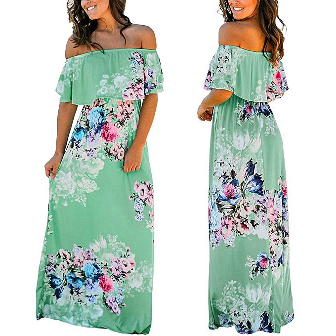 83ae57a179a8c Hiaojbk Store Women Summer Floral Print Off Shoulder Casual Maxi Dress  Floral Dress-Green