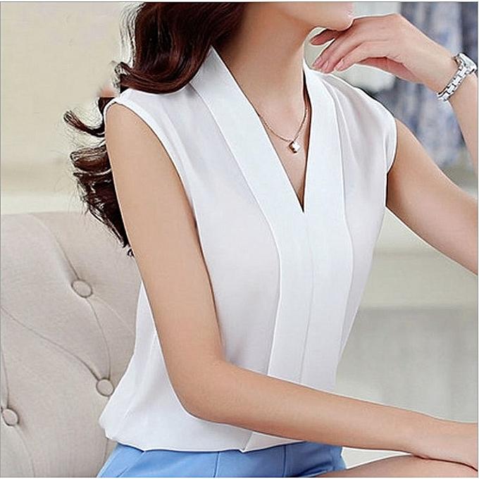 050e5b4b29956 Women Chiffon Blouses Ladies Tops Female Sleeveless Shirt Blusas Femininas  White
